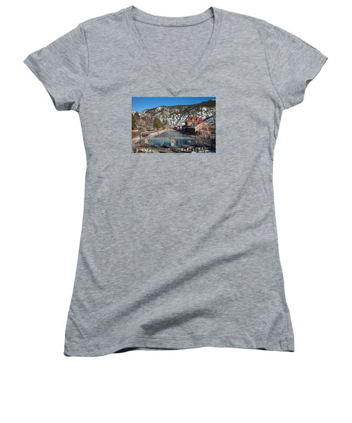 The World's Largest Hot-springs Pool At The Spa Of The Rockies In Glenwood Springs Women's V-Neck T-Shirt (Junior Cut) by Carol M Highsmith