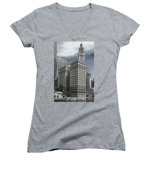 The Wrigley Building Women's V-Neck T-Shirt (Junior Cut) by Alan Toepfer
