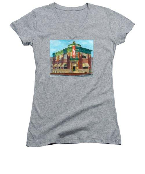 The Yellow Brick Bank Restaurant Women's V-Neck T-Shirt (Junior Cut) by Lynne Reichhart