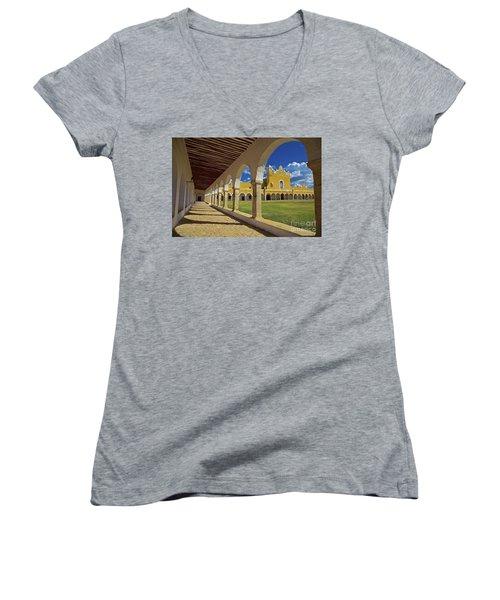 The Yellow City Of Izamal, Mexico Women's V-Neck T-Shirt (Junior Cut) by Sam Antonio Photography