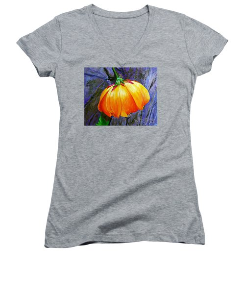 The Yellow Flower Women's V-Neck T-Shirt (Junior Cut) by Janet Garcia