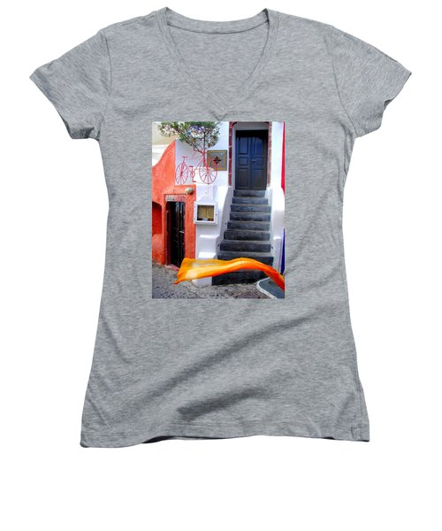 Women's V-Neck T-Shirt (Junior Cut) featuring the photograph The Yellow Scarf by Ana Maria Edulescu