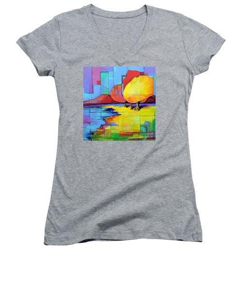Women's V-Neck T-Shirt (Junior Cut) featuring the painting The Yellow Tree by Jodie Marie Anne Richardson Traugott          aka jm-ART