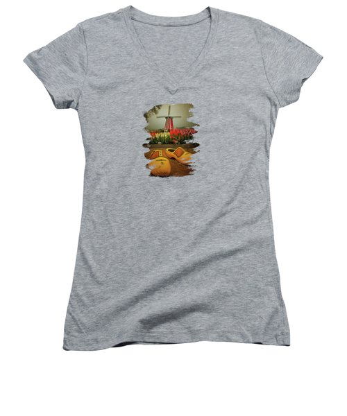 The Yellow Wooden Shoes Women's V-Neck T-Shirt (Junior Cut) by Thom Zehrfeld