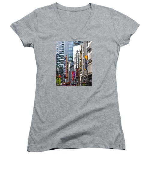 Theatre District Women's V-Neck T-Shirt (Junior Cut) by Stephen Flint