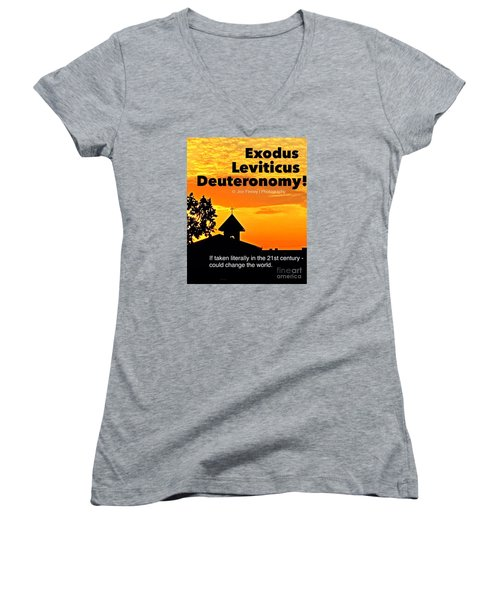Women's V-Neck T-Shirt (Junior Cut) featuring the photograph Thechurch Wsy by Joe Finney