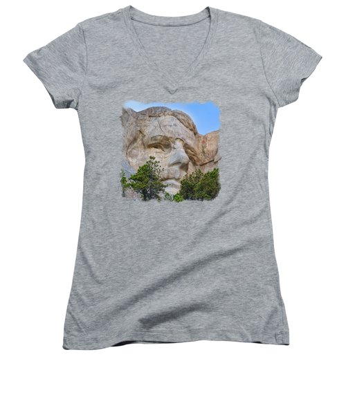 Theodore Roosevelt 3 Women's V-Neck T-Shirt (Junior Cut) by John M Bailey