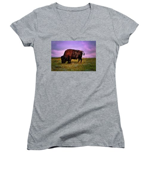 Women's V-Neck T-Shirt (Junior Cut) featuring the photograph Theodore Roosevelt National Park 008 - Buffalo by George Bostian