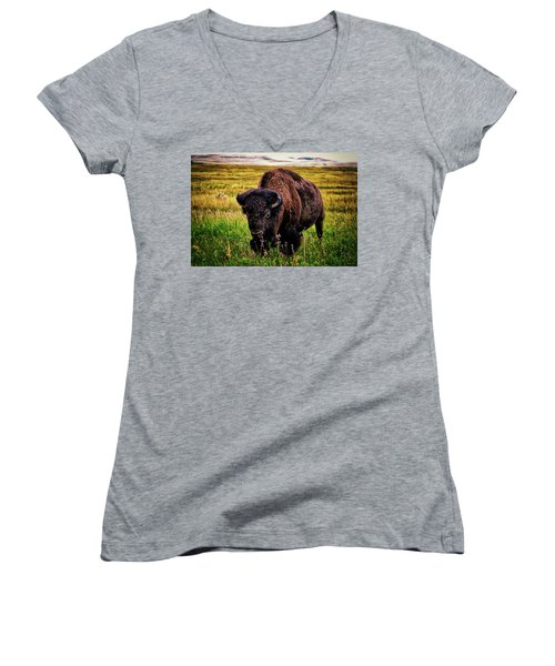 Women's V-Neck T-Shirt (Junior Cut) featuring the photograph Theodore Roosevelt National Park 009 - Buffalo by George Bostian