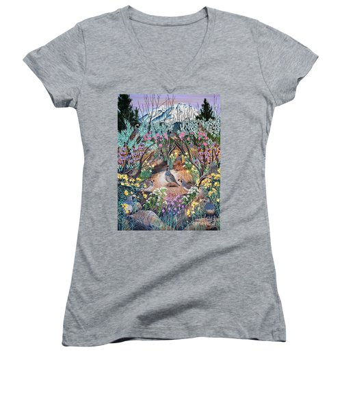 Women's V-Neck T-Shirt (Junior Cut) featuring the painting There's One In Every Crowd by Jennifer Lake