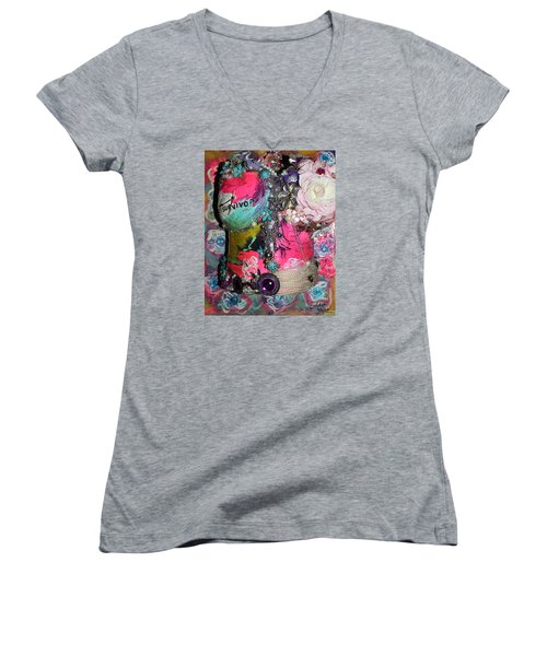 Therese - In The Garden Of My Heart Women's V-Neck
