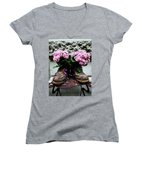 These Boots Are Made For Flowers Women's V-Neck T-Shirt