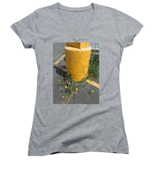 Women's V-Neck T-Shirt (Junior Cut) featuring the photograph They Are Still        Here by Marie Neder