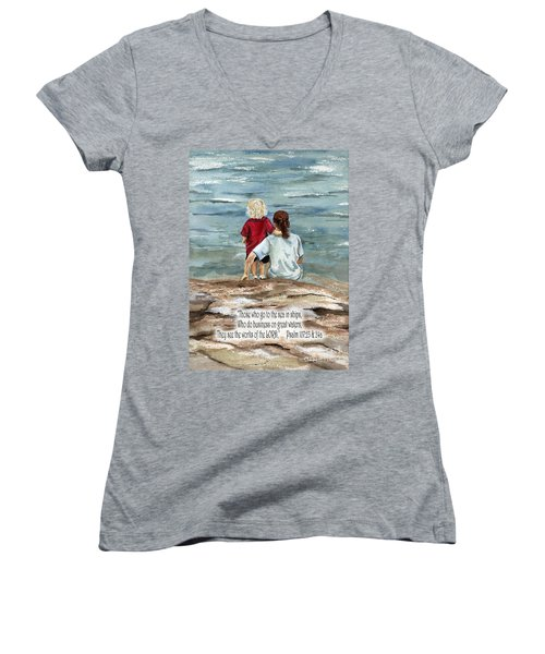 They See The Works Of The Lord  Women's V-Neck (Athletic Fit)