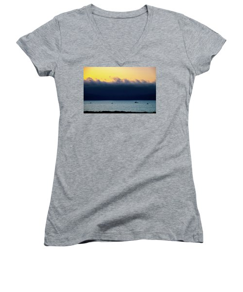 Women's V-Neck T-Shirt (Junior Cut) featuring the photograph Thick Fog Blankets Sunset by Joseph Hollingsworth