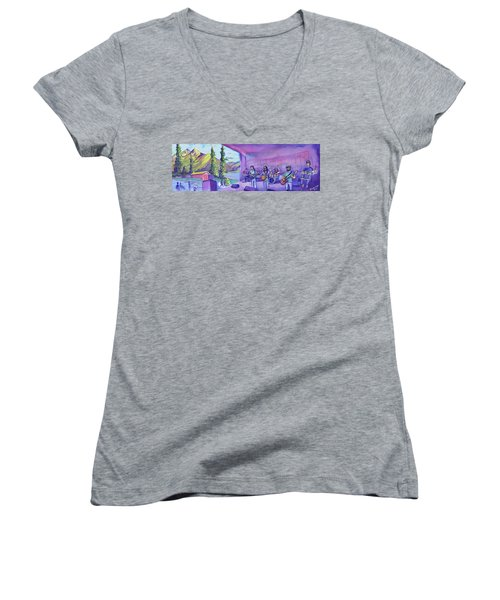 Women's V-Neck T-Shirt (Junior Cut) featuring the painting Thin Air At Dillon Amphitheater by David Sockrider