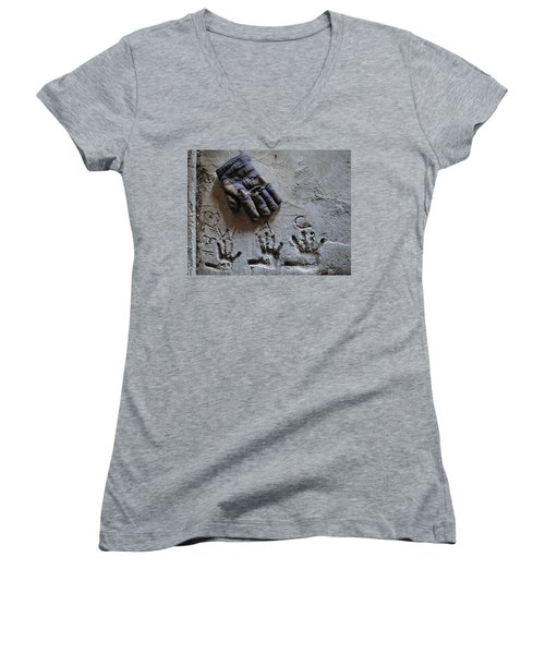 Women's V-Neck T-Shirt (Junior Cut) featuring the photograph Things Left Behind by Susan Capuano
