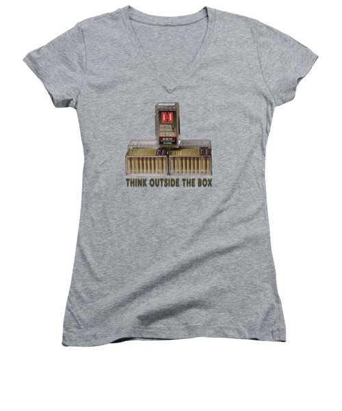 Think Outside The Box Women's V-Neck T-Shirt (Junior Cut) by EricaMaxine  Price