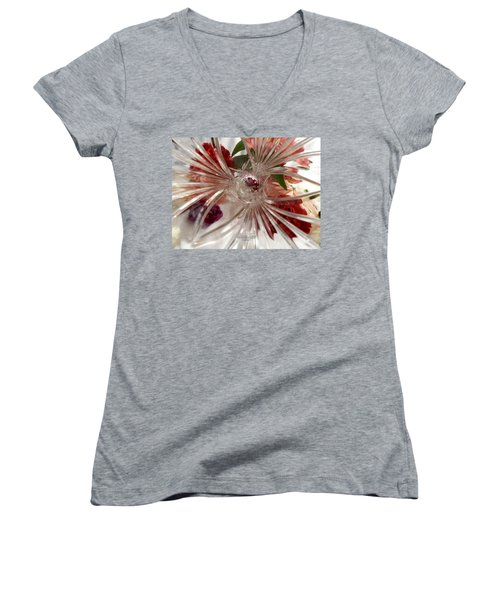 Think Outside The Vase #8801_0 Women's V-Neck T-Shirt (Junior Cut) by Barbara Tristan