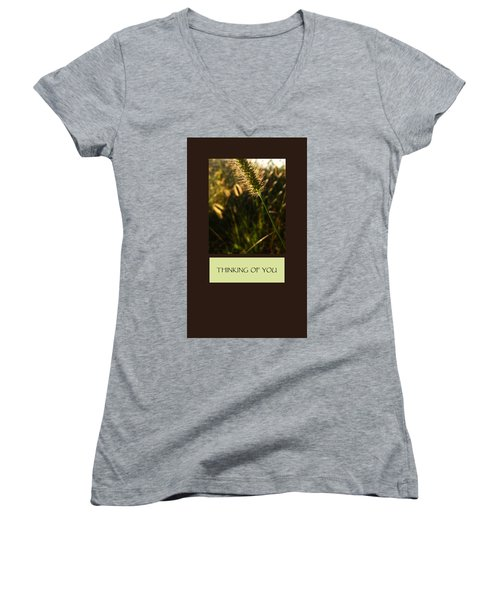 Thinking Of You Women's V-Neck T-Shirt (Junior Cut) by Mary Ellen Frazee