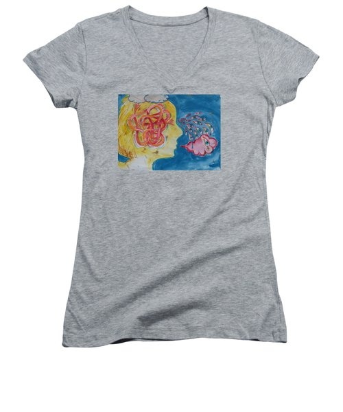 Thinking Women's V-Neck T-Shirt (Junior Cut)