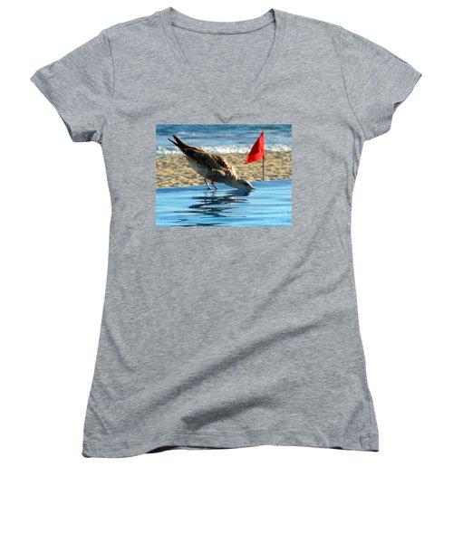 Women's V-Neck T-Shirt (Junior Cut) featuring the photograph Thirst by Anna  Duyunova