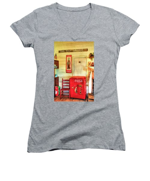 Thirst-quencher Old Coke Machine Women's V-Neck T-Shirt (Junior Cut) by Reid Callaway