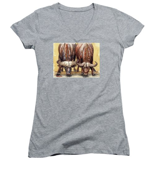 Women's V-Neck T-Shirt (Junior Cut) featuring the painting Thirsty Buffalo  by Margaret Stockdale