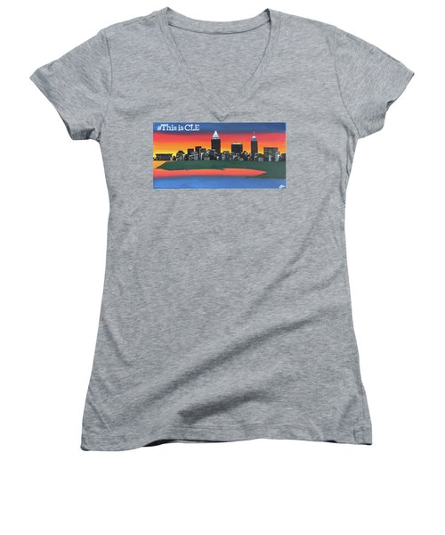This Is Cle Women's V-Neck T-Shirt (Junior Cut) by Cyrionna The Cyerial Artist