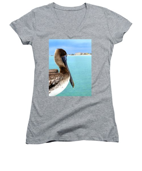This Is My Town - Pelican At Clearwater Beach Florida  Women's V-Neck T-Shirt