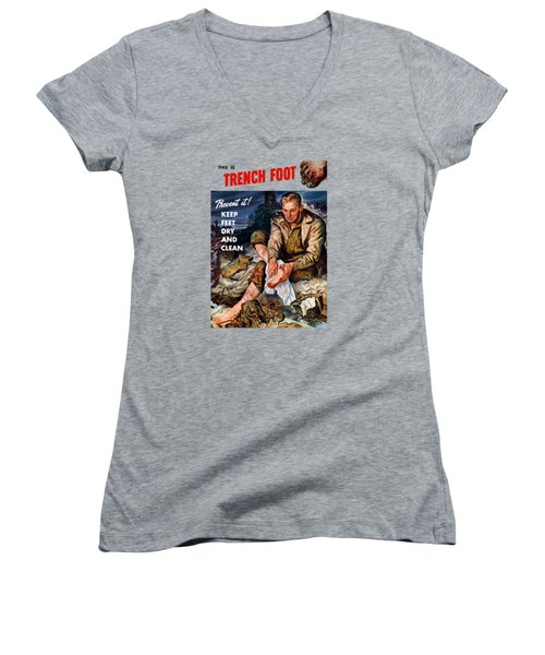 Women's V-Neck T-Shirt (Junior Cut) featuring the painting This Is Trench Foot - Prevent It by War Is Hell Store