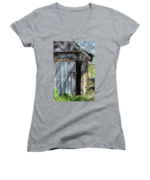 This Old Barn Door Women's V-Neck T-Shirt (Junior Cut) by Kathy Kelly