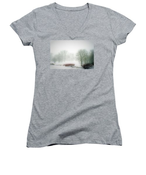 This Small Bridge, Located On A Golf Course, Always Provides A Scenic View. When A December Blizzard Women's V-Neck (Athletic Fit)
