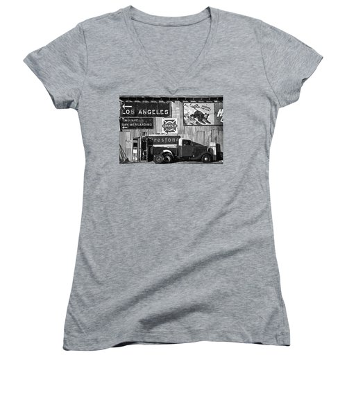 This Way To L.a. Women's V-Neck T-Shirt (Junior Cut) by Marius Sipa