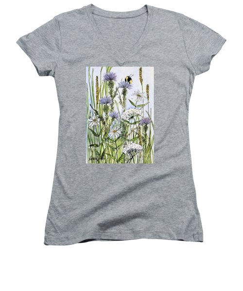 Thistles Daisies And Wildflowers Women's V-Neck T-Shirt (Junior Cut) by Laurie Rohner