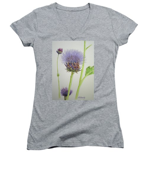 Women's V-Neck T-Shirt (Junior Cut) featuring the painting Thistles by Marna Edwards Flavell