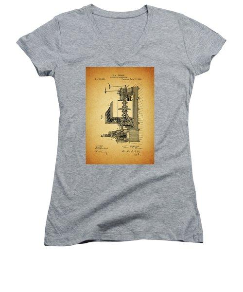 Thomas Edison Generator Patent Women's V-Neck T-Shirt (Junior Cut) by Dan Sproul