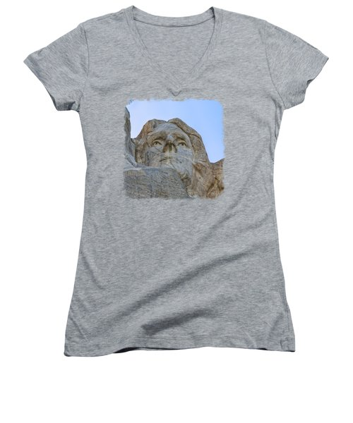 Thomas Jefferson 3 Women's V-Neck T-Shirt (Junior Cut) by John M Bailey