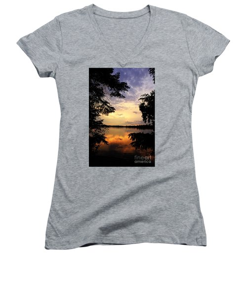 Women's V-Neck T-Shirt (Junior Cut) featuring the photograph Thomas Lake Sunset 2 by Larry Ricker
