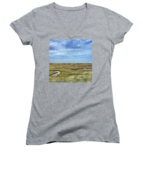 Thornham Marshes, Norfolk Women's V-Neck (Athletic Fit)