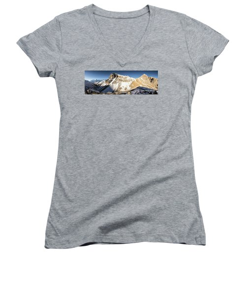 Thorung La Pass In The Annapurna Range In The Himalayas In Nepal Women's V-Neck