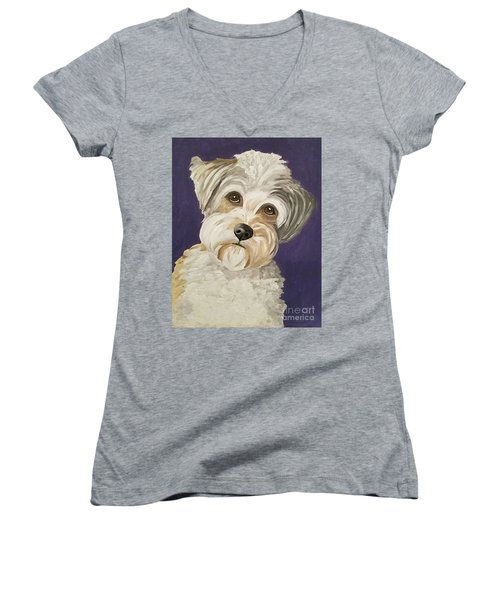 Women's V-Neck T-Shirt (Junior Cut) featuring the painting Those Eyes by Ania M Milo