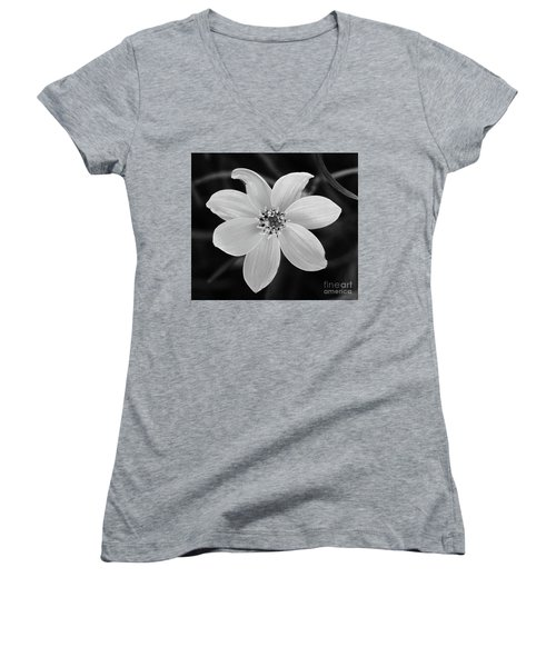 Threadleaf In Black And White Women's V-Neck (Athletic Fit)