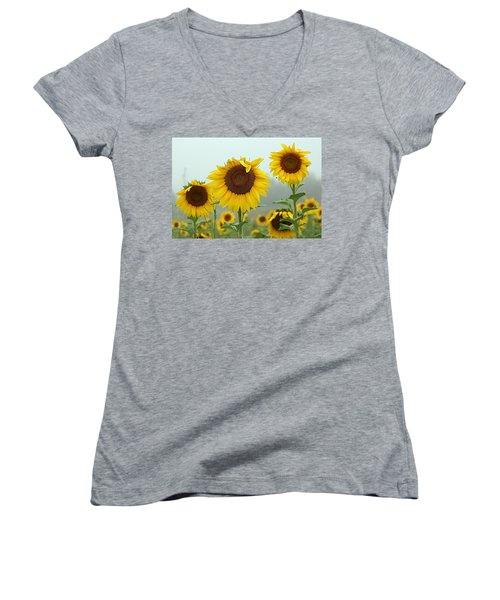 Three Amigos In A Field Women's V-Neck T-Shirt (Junior Cut) by Karen McKenzie McAdoo