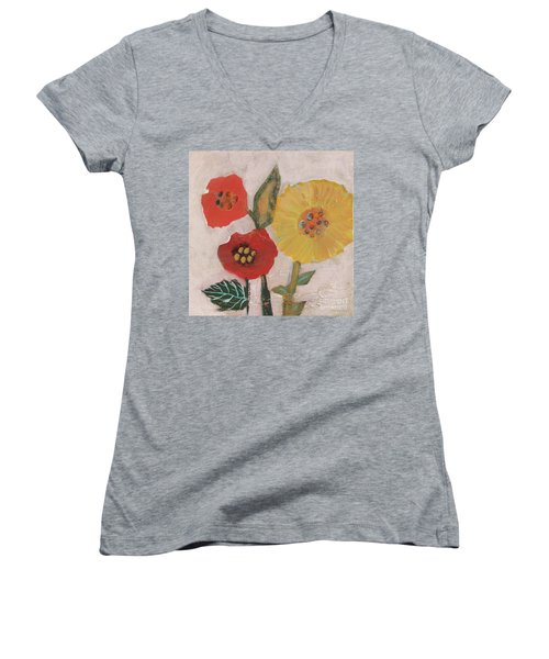 Women's V-Neck T-Shirt featuring the painting Three Awkward Flower Blossoms by Robin Maria Pedrero