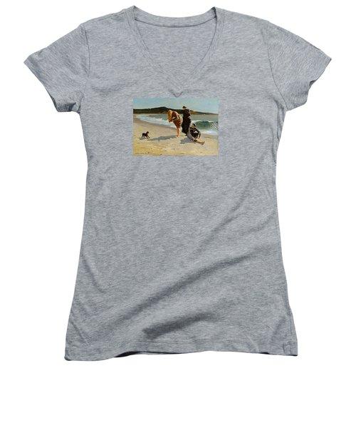 Three Bathers Women's V-Neck T-Shirt (Junior Cut) by  Newwwman