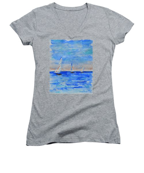 Three Boats Women's V-Neck T-Shirt (Junior Cut) by Jamie Frier