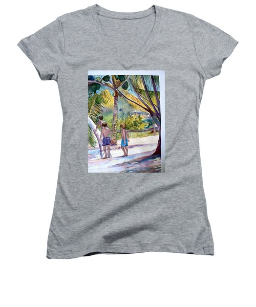 Three Boys Climbing Women's V-Neck
