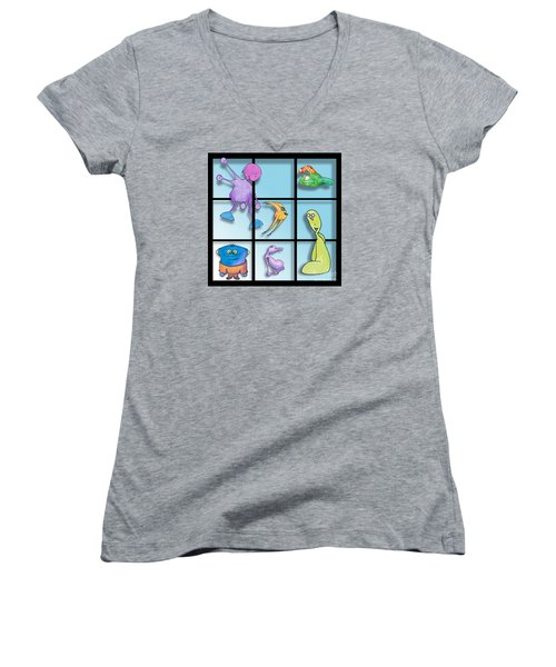 Women's V-Neck T-Shirt (Junior Cut) featuring the drawing Three By Whee by Uncle J's Monsters