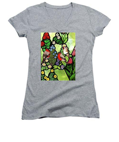Women's V-Neck T-Shirt (Junior Cut) featuring the photograph Three Company by Munir Alawi